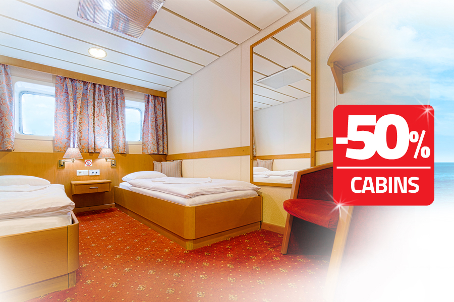 50% discount for cabin prices on Świnoujście - Ystad line